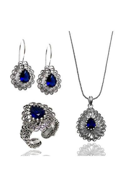 Mavi Taşlı Telkari Gümüş Bayan Üçlü Takım (Kod 2020721)