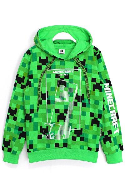360 Derece Minecraft Baskılı Kışlık Çocuk Kapşonlu Sweatshirt 5 - 13 Yaş Yeşil