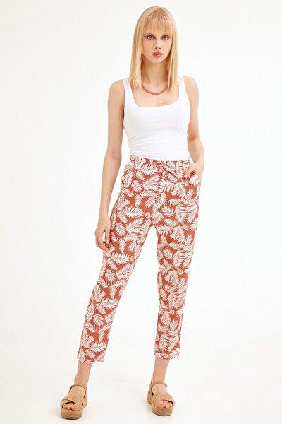 Kadın Kiremit Palmiye Desenli Pantolon
