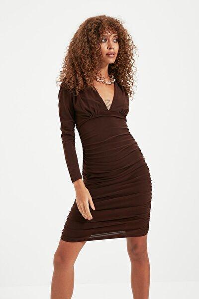 Kahverengi Drapeli Elbise TPRAW22EL1069