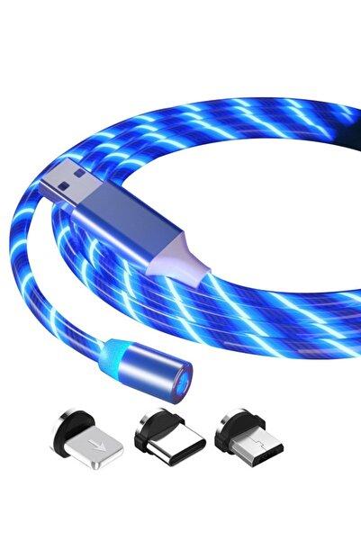 Manyetik Mıknatıslı Hareketli Işıklı 3 Uçlu Mavi Renkli Kablo