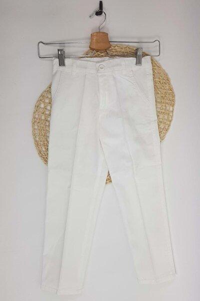 Beyaz Gabardin Fermuarlı Cepli Çocuk Pantolon 9 Yaş