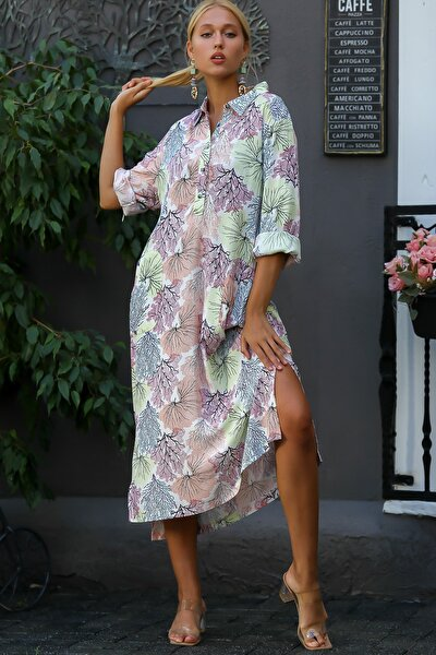 Kadın Yakalı Düğmeli Mercan Desenli Cepli Gömlek Elbise M10160000EL94809