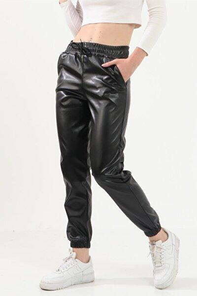 Kadın Siyah Içi Kadifeli Deri Pantolon 416-1