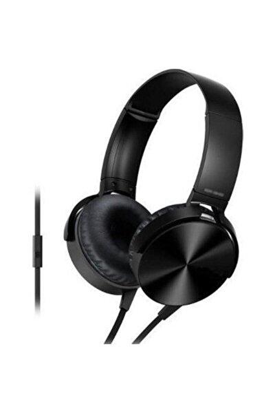 Siyah Kafa Üstü Telefon Oyun Kulaklığı Extra Bass Stereo