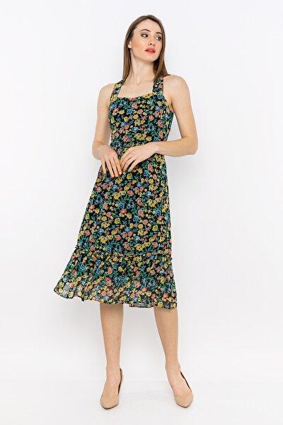 Çapraz Sırt Askılı Beli Lastikli Elbise