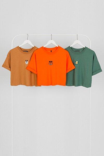 Nakışlı Kemer Boy Oversize Kadın Tshirt - 3 Lü Paket