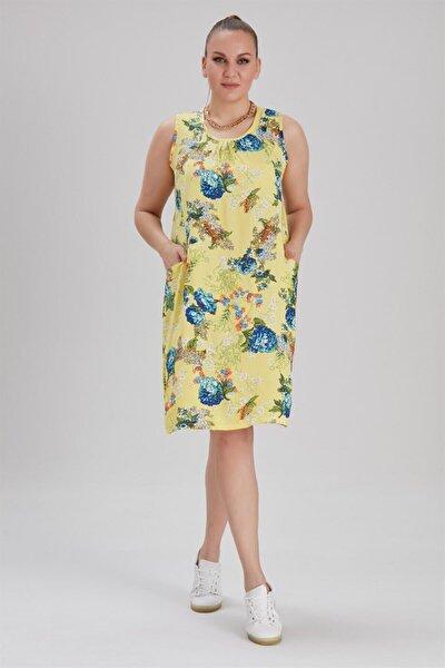 Kadın Büyük Beden Cepli, Çiçek Desenli Kolsuz Elbise Sarı
