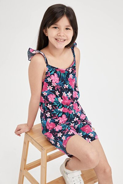 Kız Çocuk Çiçek Desenli Askılı Tulum