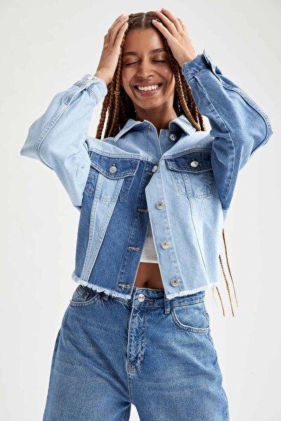 Coool Kesik Detaylı Renk Bloklu Crop Jean Ceket
