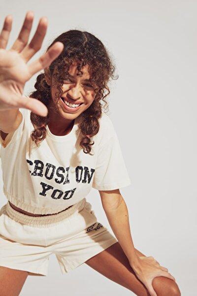 Slogan Baskılı Relax Fit Crop Tişört