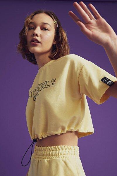 Coool Slogan Baskılı Beli Bağcıklı Kısa Kollu Crop Tişört