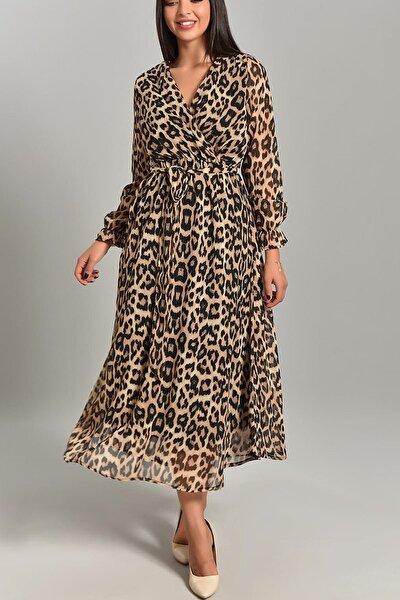 Kadın Leopar Uzun Kruvaze Yaka Şifon Elbise