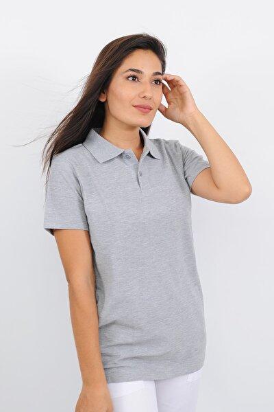 Kadın Polo Yaka Optik Gri T-shirt