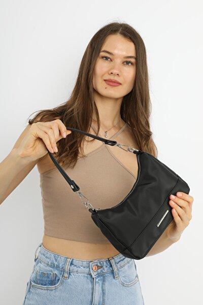 Siyah Kadın Soft Baguette Çanta