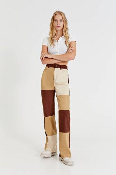Kahverengi Patchwork Pantolon