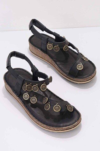 Siyah Hakiki Deri Kadın Sandalet K05809987203