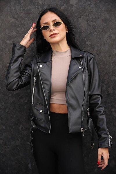 Kadın Kemerli Deri Ceket