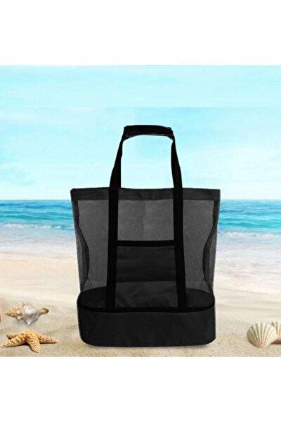Siyah 15+35 Litre Sıcak Soğuk Korumalı Buzluk Termal Piknik Kamp Seyahat Plaj Çantası