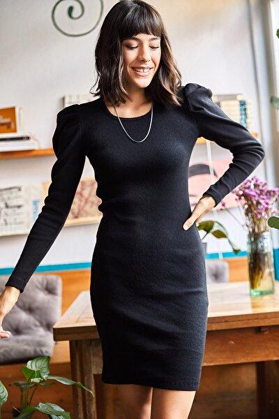 Kadın Siyah Prenses Kol Likralı Elbise ELB-19001610