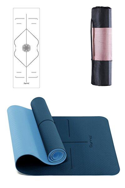 Hizalamalı 6mm Tpe Yoga Matı Pilates Minderi Mavi