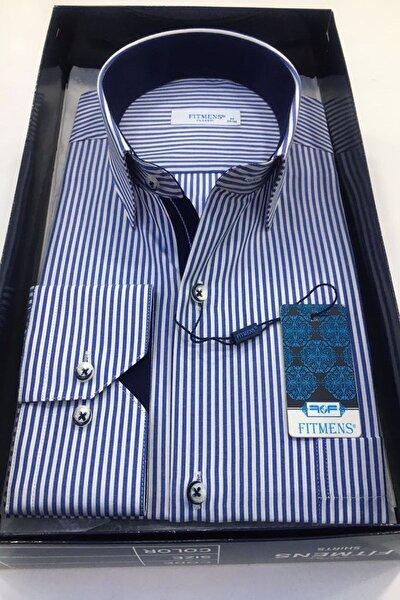 Koyu Mavi Çizgili Şık Erkek Gömlek