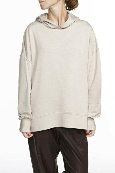 Nova Kapüşonlu Oversized Bej Sweatshirt