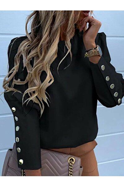 Siyah Düğme Detaylı Kadın Gömlek