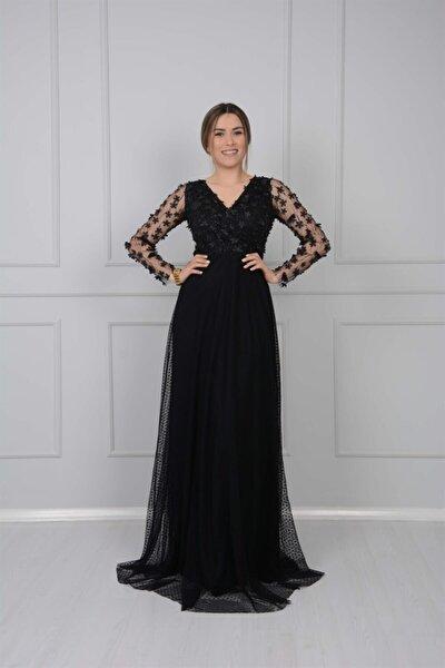 Üç Boyutlu Çiçekli Elbise - Siyah