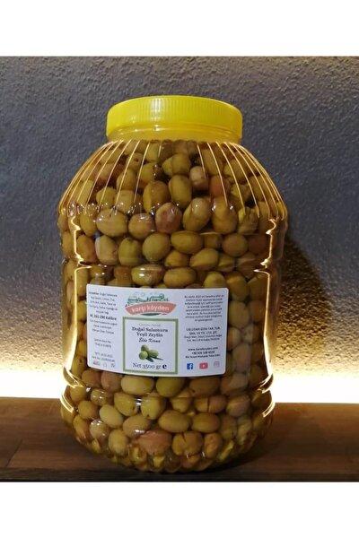 Doğal Salamura Kırma Yeşil Zeytin (3500gr - Pet Kavanoz)