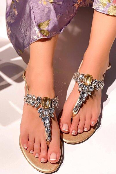 Gold Taşlı Sandalet