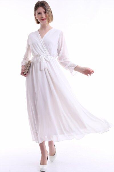 Kadın Beyaz Kruvaze Yaka Şifon Elbise