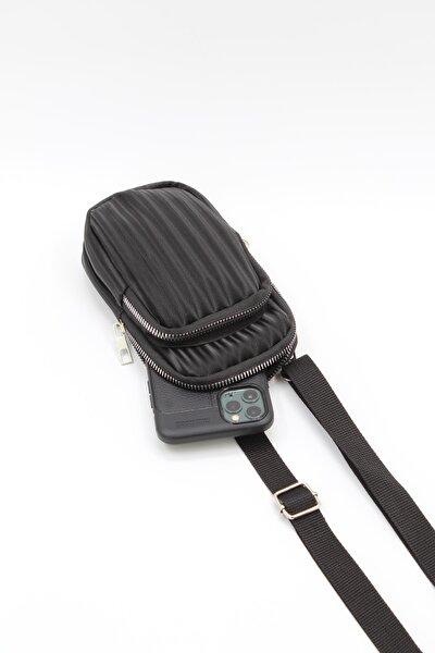 Kadın Iki Gözlü Askılı Telefon Çantası Siyah