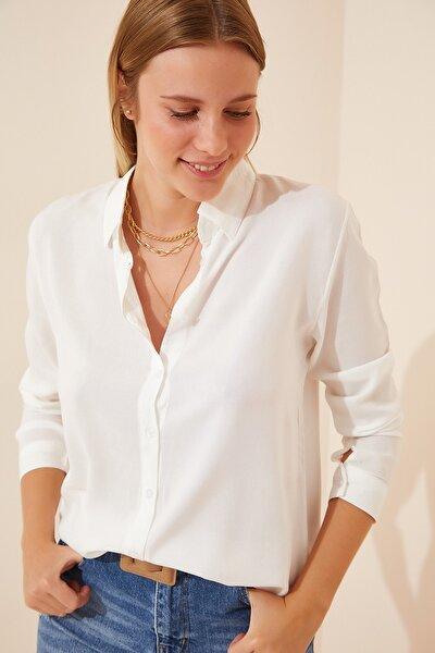 Kadın Beyaz Basic Viskon Gömlek EN00514