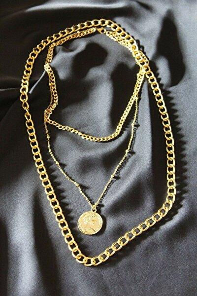 Sarı Üçlü Kalın Zincirli Madalyon Kolye
