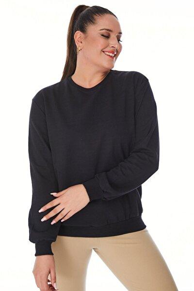 Büyük Beden Siyah Basic Oversize Sweatshirt
