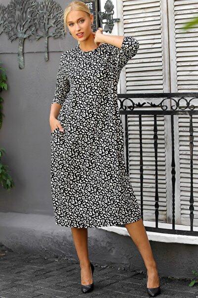 Kadın Siyah Leopar Desenli Gizli Cepli Uzun Kollu Uzun Elbise M10160000EL94216