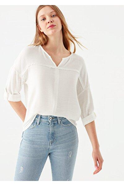 V Yaka Beyaz Bluz 121357-22937
