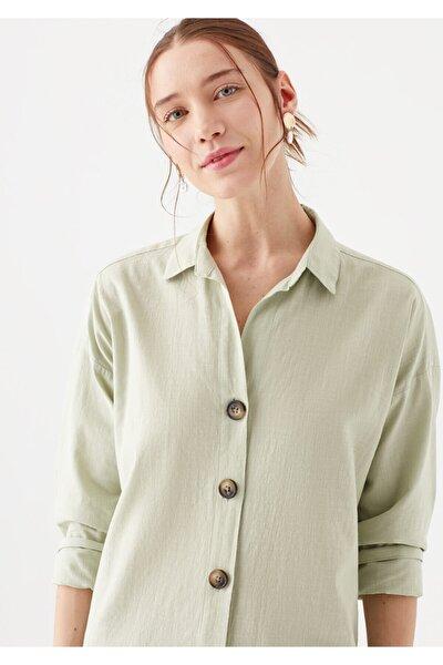 Uzun Kollu Düğme Detaylı Yeşil Gömlek 122385-32131