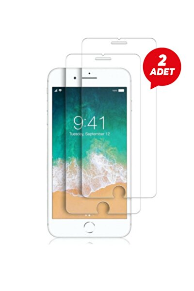 Iphone 6 Plus 6s Plus Uyumlu Temperli Şeffaf Kenarlı Ekran Koruyucu Kırılmaz Telefon Cam 2'li Paket