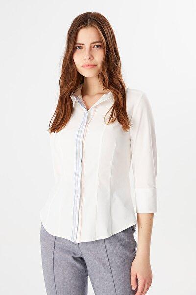 Kadın Kapri Kol Patı Çizgili Gömlek