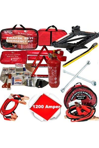 Dörtlü Ürün Trafik Seti+çantalı Akü Takviye Kablosu+kriko+bijon Anahtarı