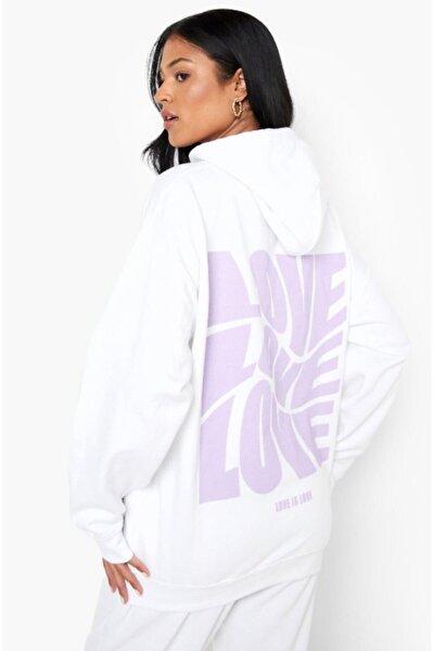 Kadın Beyaz Sırt Baskılı Oversize Sweatshirt Hoddie