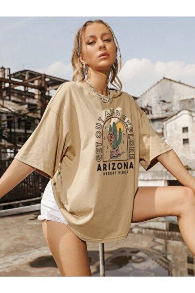 Kadın Camel Oversize Arizona Baskılı T-shirt