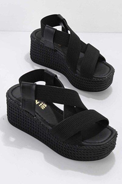 Siyah Elastik Kumaş Kadın Sandalet K05836010015