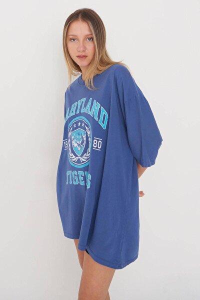 Baskılı Oversize T-shirt P9546 - B10