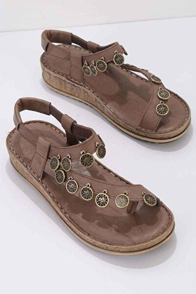 Vizon Hakiki Deri Kadın Sandalet K05809987203