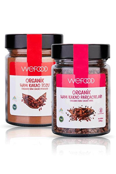 Organik Ham Kakao Tozu 140 gr + Organik Ham Kakao Parçacıkları 150 gr
