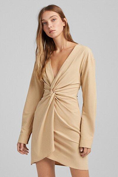 Uzun Kollu Düğümlü Pamuklu Keten Elbise