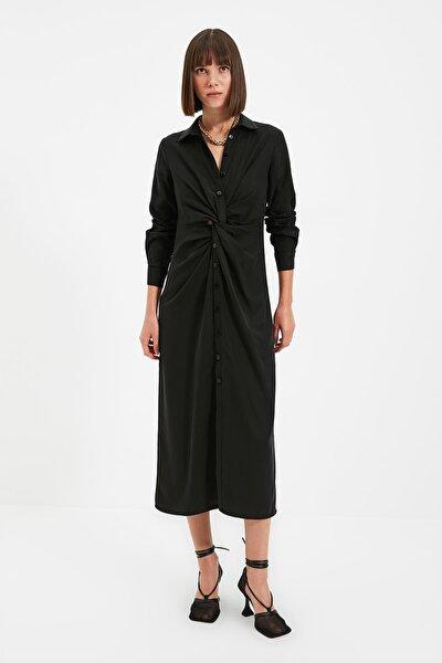 Siyah Düğmeli Elbise TWOAW22EL0696